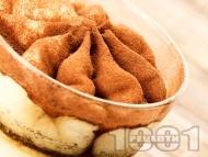 Рецепта Десерт от крем маскарпоне, кафе и какао (без яйца)